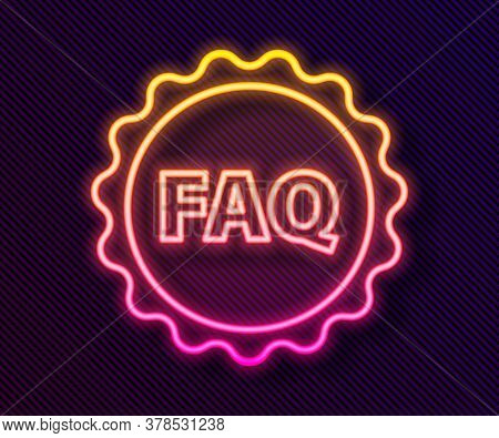 Glowing Neon Line Label With Text Faq Information Icon Isolated On Black Background. Circle Button W