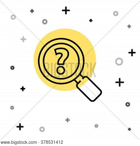 Black Line Unknown Search Icon Isolated On White Background. Magnifying Glass And Question Mark. Ran