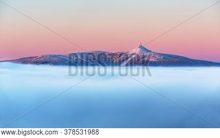 Jested Peaks From The Inverse Sea, Inversion And Sea From Clouds In The Distance Jested Jizerky.