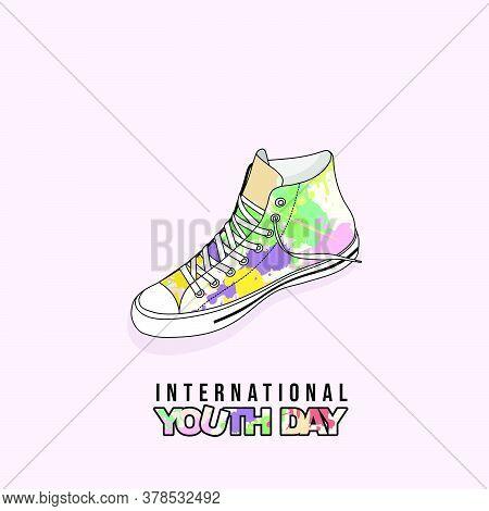 Colorful Of Girl Classic Canvas Shoes Vector Illustration. Good Template For T Shirt Design Or Youth