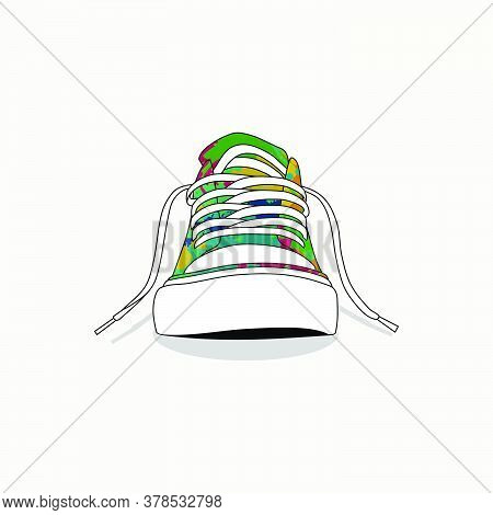 Colorful Of Classic Canvas Shoes Vector Illustration. Good Template For T Shirt Design Or Youth Desi