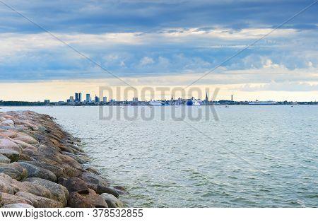 Skyline Of Tallinn Harbor With Seaview. Estonia