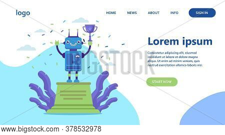 Robot Winning Golden Cup. Award, Celebration, Cyborg Flat Vector Illustration. Technology And Contes