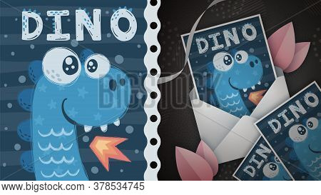 Dino Fire - Idea For Greeting Card. Hand Draw