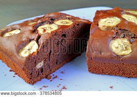 Texture Of A Fresh Baked Flavorful Homemade Wholemeal Chocolate Banana Olive Oil Cake