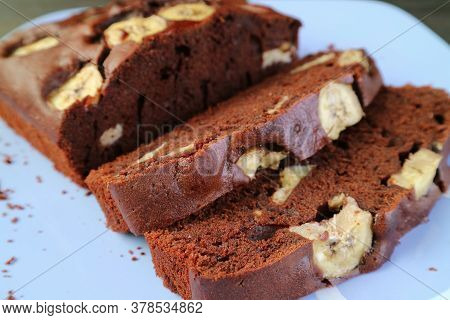 Closeup Slices Of Mouthwatering Fresh Baked Homemade Wholemeal Chocolate Banana Cake