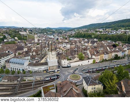Schaffhause, Switzerland - May 19, 2019: Aerial View Of The Swiss Old Town Of Schaffhausen With Busy