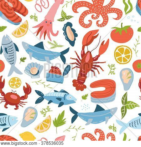 Sea Animal Set Seamless Pattern With , King Crab, Crawfish And Fish. Sea Food Ornament. Cute Colored