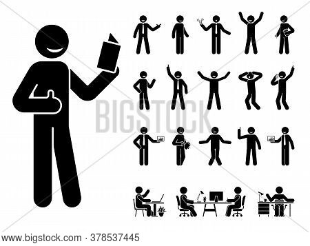 Stick Figure Man Different Poses, Emotions Face Design Vector Icon Set. Reading, Talking, Happy, Sad