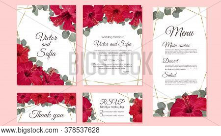 Vector Set Of Wedding Invitations. Red Hibiscus, Green Leaves, Golden Shapes. Postcard With Invitati