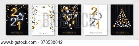 Christmas And New Year Posters Set With Hanging Gold And Silver 3d Baubles And 2021 Numbers. Vector