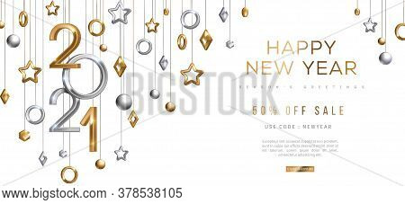 Christmas And New Year Banner With Hanging Gold And Silver 3d Baubles And 2021 Numbers On Black Back