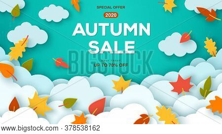 Autumn Sale Blue Background With Paper Cut Clouds And Leaves. Shopping Sale Frame Design, Promo Post