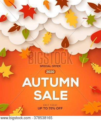 Autumn Sale Orange Background With Paper Cut Clouds And Leaves. Shopping Sale Frame Design, Promo Po