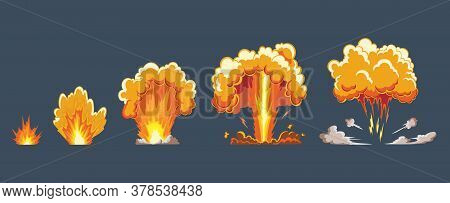 Cartoon Explosion Effect With Smoke. Comic Boom Effect, Explode Flash, Bomb Comic, Vector Illustrati