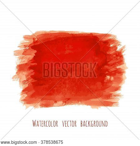 Bloody Red Vector Watercolor Texture Background With Dry Brush Stains, Strokes And Spots Isolated On
