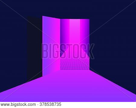 Entering Virtual Reality. Light From An Open Door, Pink Purple Gradient. Open Door To 80s Retro Sci-