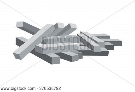 Heap Building Material. Heap Of Concrete Piles. Vector Illustrations Can Be Used For Construction Si