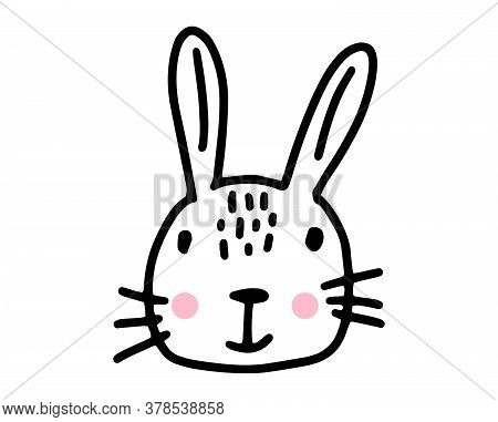 Bunny Doodle. Hand Drawn Lines Cartoon Rabbit. Vector Illustration Isolated On White Background