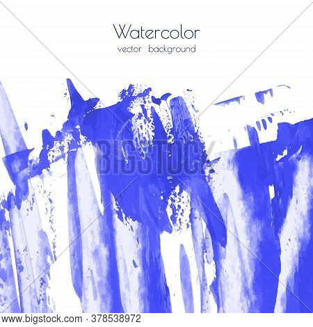 Vector Marina, Navy Peony, Blue, Indigo Watercolor Texture Background, Dry Brush Stains, Strokes, Sp