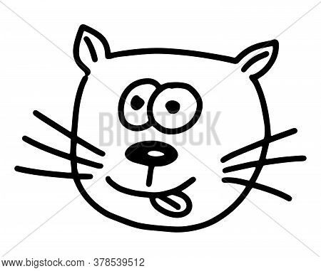 Cat Doodle. Hand Drawn Lines Cartoon Vector Illustration Isolated On White Background