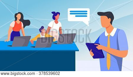 Office Employees Listening Manager With Clipboard. Laptop, Worker, Staff Flat Vector Illustration. B