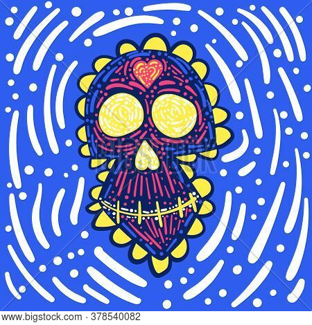 Day Of The Dead. Dia De Los Muertos. Mexican Carnival Concept With Sugar Festive Skull. Fiesta, Holi