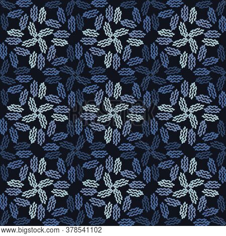 Indigo Blue Doodle Leaf Seamless Pattern. Sketchy Floral Foliage Vector Background. Modern Dark Navy