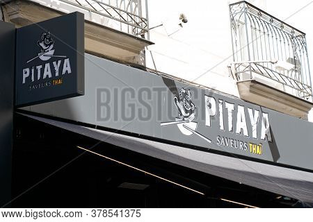 Bordeaux , Aquitaine / France - 07 25 2020 : Pitaya Logo And Text Sign Of Fastfood Thai Street Food