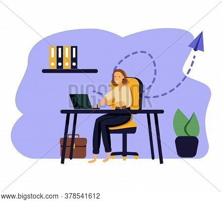 Handsome Woman Is Working At His Laptop. Modern Office Interior With Work Process Icons On The Backg