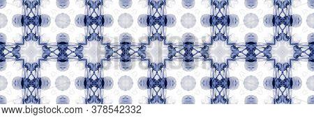 Portuguese Decorative Tiles. Aztec White Painting. Portuguese Decorative Tiles Background. Winter Ge