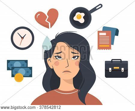 Flat Vector Illustration Of A Sad Asian Woman Who Is Tired And Annoyed. Factors Of Irritation Around