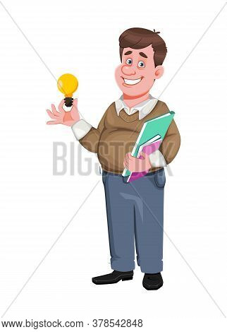 Back To School. Cheerful Male Teacher. Handsome Teacher Cartoon Character. Vector Illustration Isola