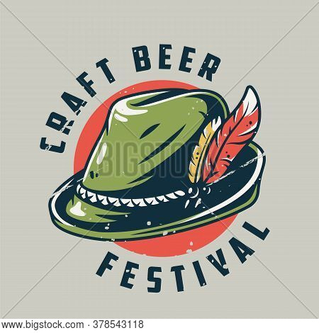 T-shirt Print Or Emblem With Bavarian Hat For Fest