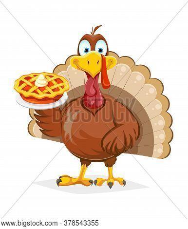 Happy Thanksgiving Day. Funny Thanksgiving Turkey Bird Holding Sweet Pumpkin Pie. Vector Illustratio