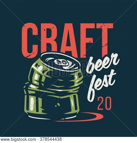T-shirt Print With Beer Crumpled Can For Pub