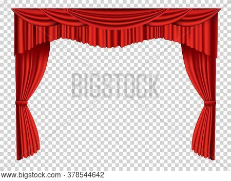 Red Curtains Realistic. Theater Fabric Silk Decoration For Movie Cinema Or Opera Hall. Curtains And
