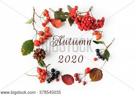 Autumn Natural Wreath Of Berries, Leaves, Cones With The Inscription Autumn 2020 On A White Backgrou