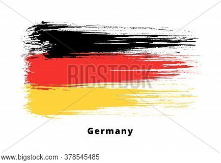 Painted Grunge German Flag. Brush Strokes On White Background. Grunge Design Element. Painted Ink St