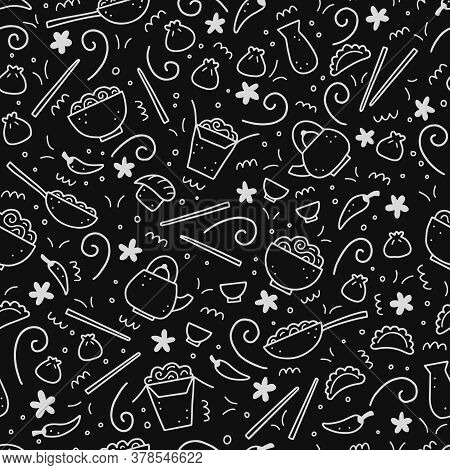 Hand Drawn Seamless Pattern Of Asian Food Elements, Wok, Ramen, Noodle, Soy. Doodle Sketch Style. Cu