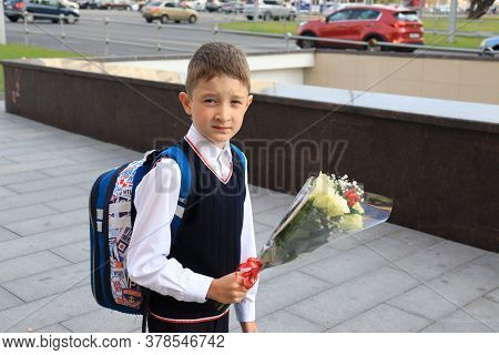 Moscow, Russia - September, 1 2017: The First Call, A Boy Going To School For The First Time On Sept