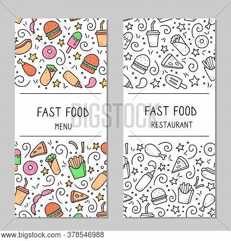 Hand Drawn Menu Template Of Fast Food Elements, Burger, Pizza, Sandwich, Hamburger, Snack. Doodle Sk