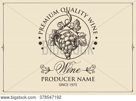 Wine Label With A Hand-drawn Bunch Of Grapes And Calligraphic Inscription On A Light Background. Vec