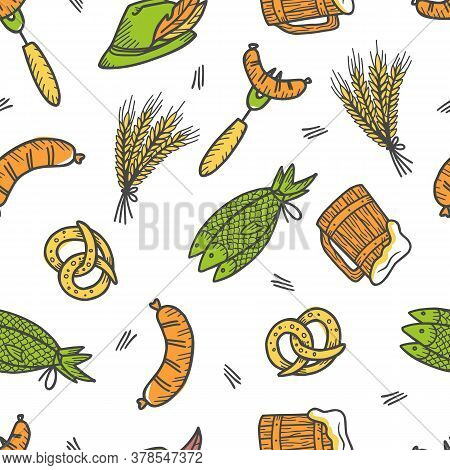 Pattern With Sausage, Beer Mug, Pretzel And Fish