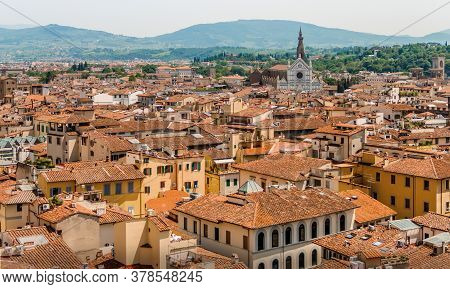 View Of Florentine Rooftops & Skyline With Santa Croce Church In Florence, Italy