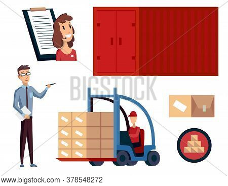 Warehouse. Logistics Illustrations Collection. Warehouse Center, Checklist, Container, Forklift And
