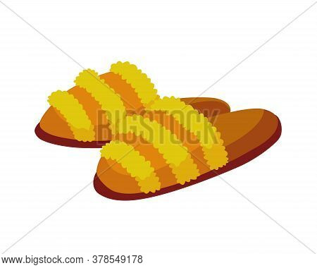 Home Footwear Slippers. Soft Comfortable Slip On Shoe For Home. Pair Slippers, Textile Domestic Outf