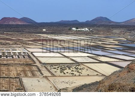 Scenic Saline At Janubio In Lanzarote, Spain