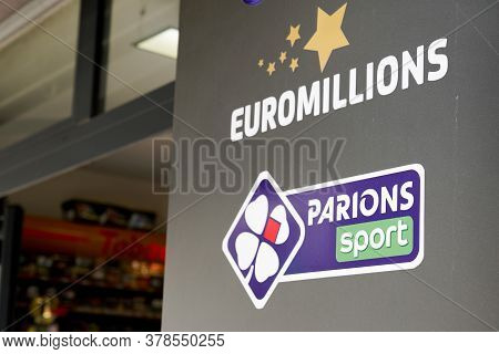 Bordeaux , Aquitaine / France - 07 25 2020 : Euromillions And Parions Sport French Sign Text Logo Of