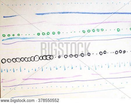 Distress Line Pattern. Curve Paintbrush Curly Textile. Background Distress Line Pattern. Geometric F
